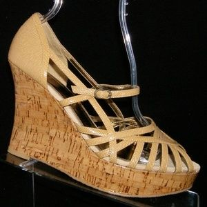 Bakers Porsha beige man made strappy wedges 10B